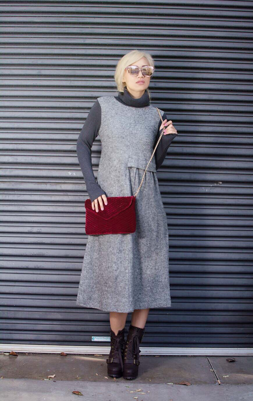 gray long sleeve maxi dress stylewe