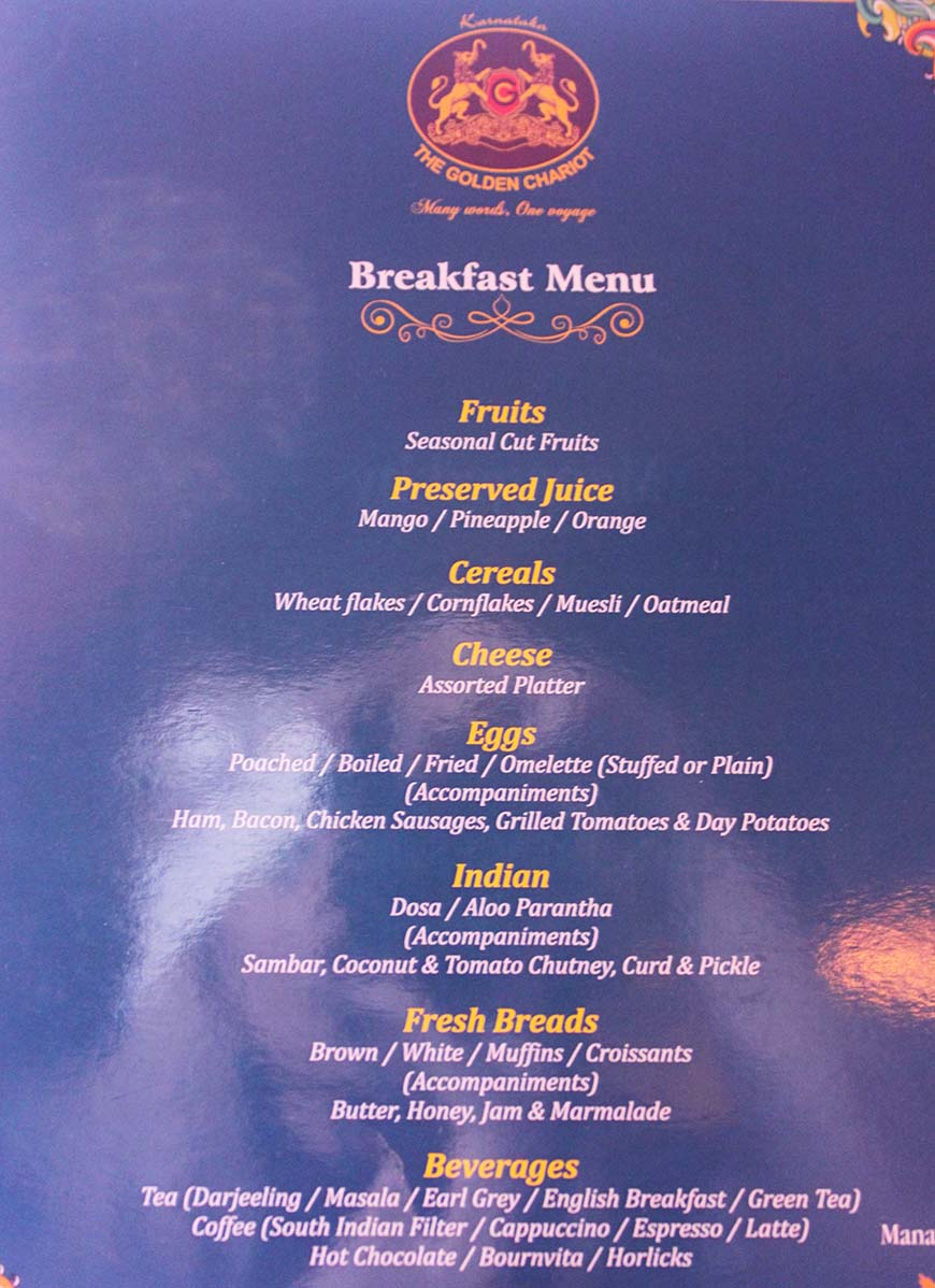 Golden Chariot Amazing Luxury Train Journey in India Breakfast Menu
