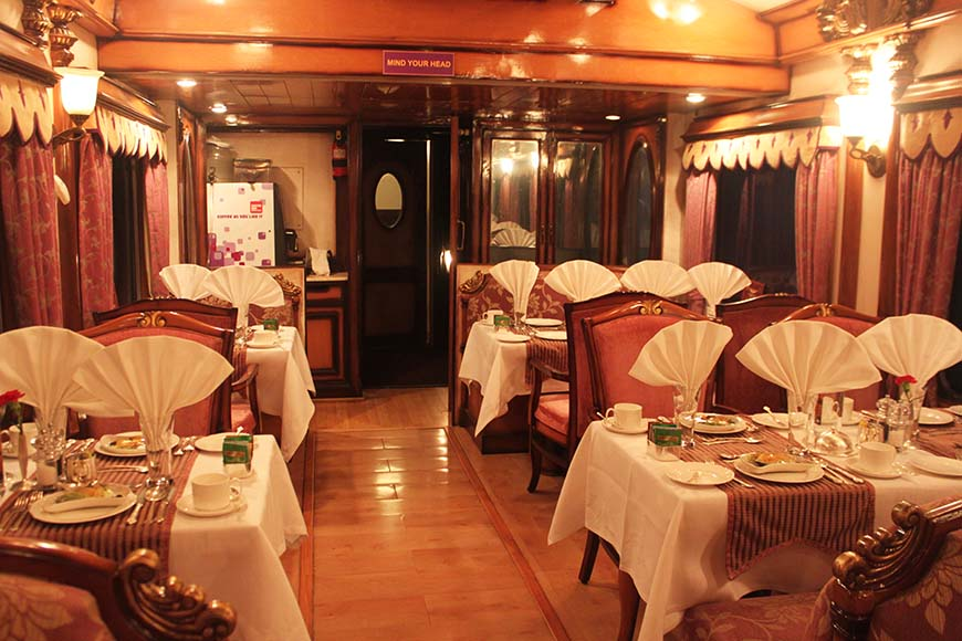 Golden Chariot Amazing Luxury Train Journey in India - Dining Cart