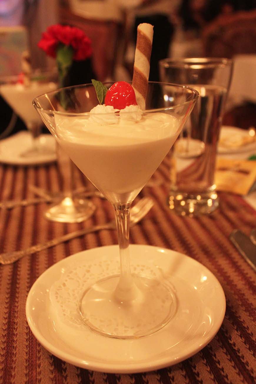 Golden Chariot Amazing Luxury Train Journey in India Dinner Coconut Dessert