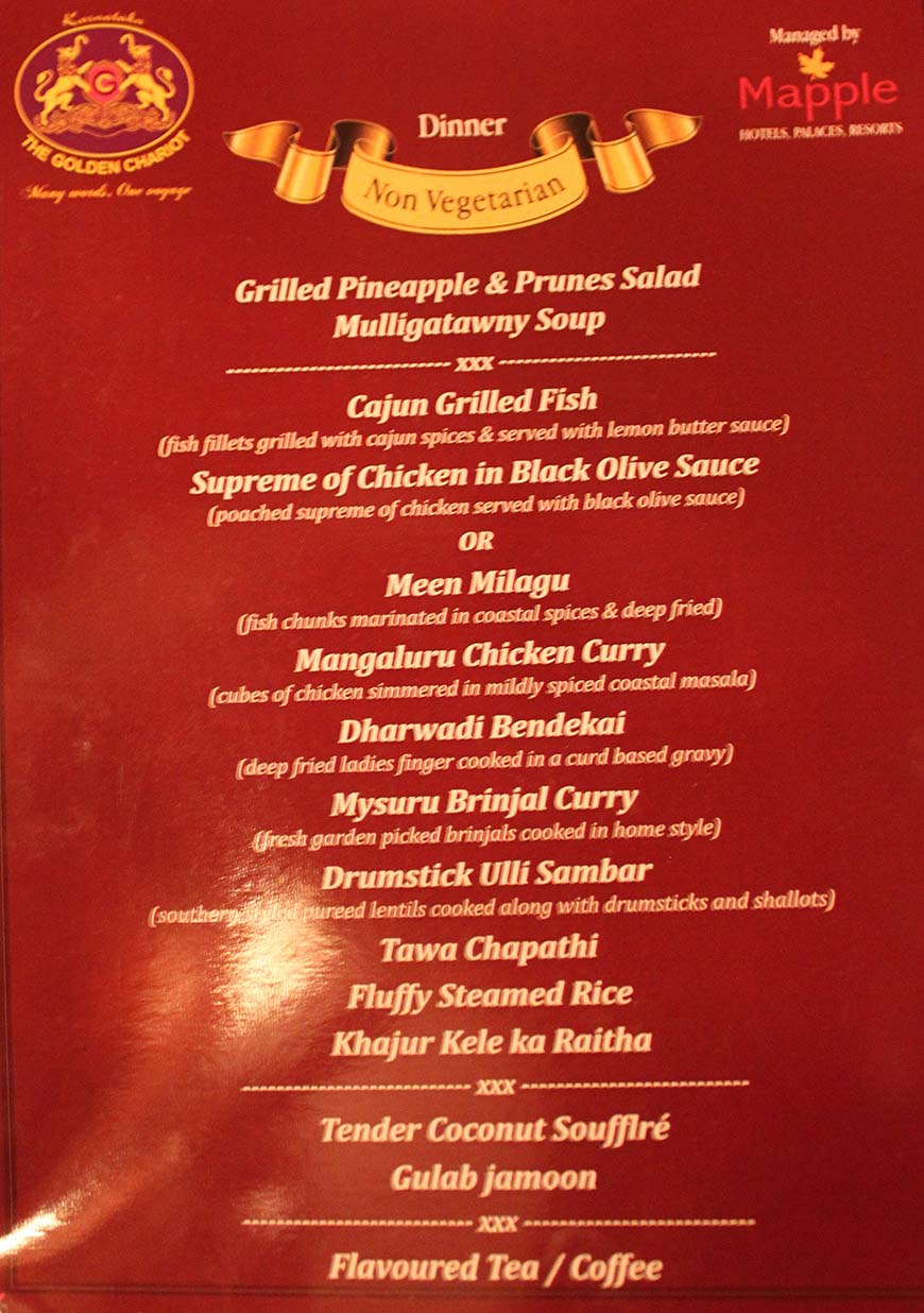 Golden Chariot Amazing Luxury Train Journey in India Dinner Menu 1