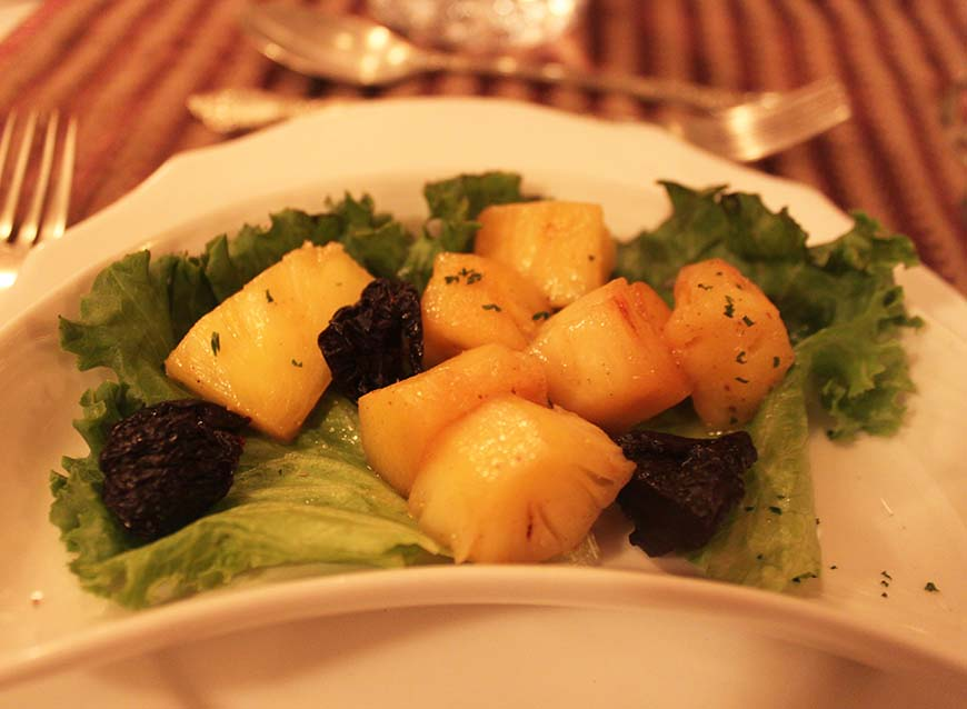 Golden Chariot Amazing Luxury Train Journey in India Dinner Pineapple Appetizer