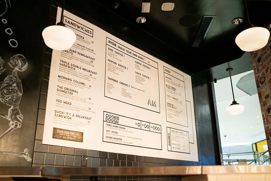 Easy's - Modern Diner inside the Beverly Center in Los Angeles - menu